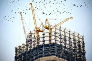 building-in-construction-with-flocks-of-birds-above