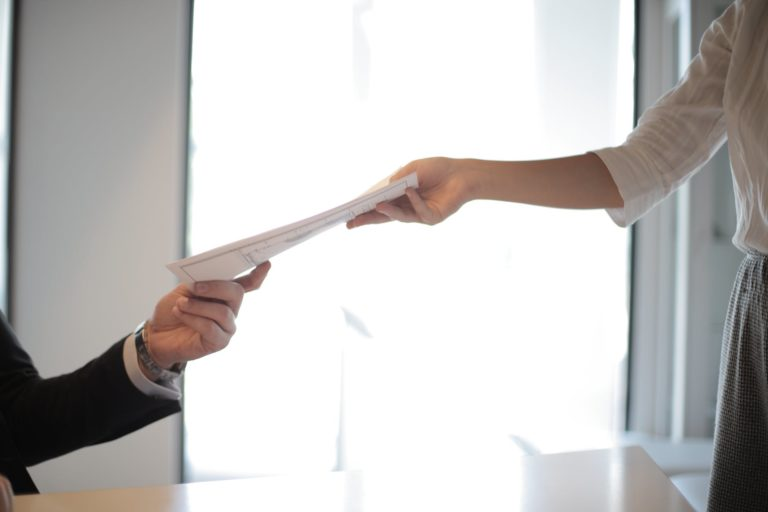 handing out document