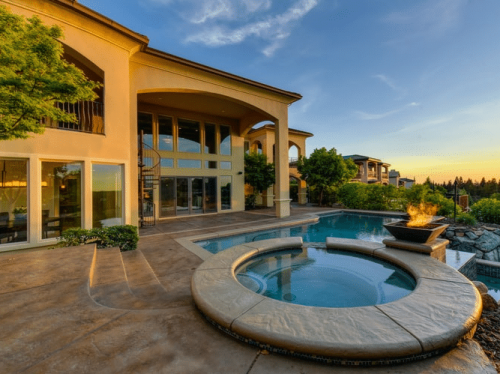 by pool area in a mansion