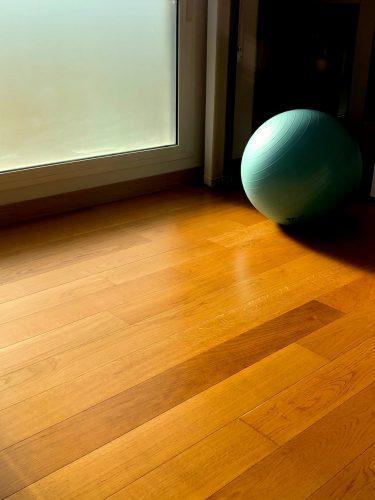 ball on laminated flooring